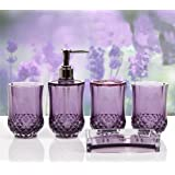 Purple bathroom accessory sets bathroom for Purple bathroom bin