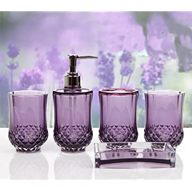 HQdeal 5PC Set Acrylic Bathroom Accessories Bathroom Set Glamarous Purple
