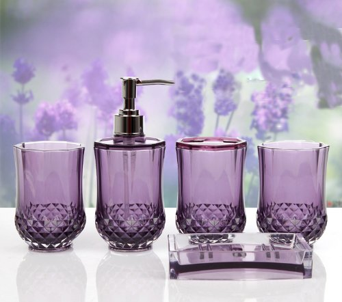 purple glass bathroom accessories. Amazon Com  HQdeal 5PC Set Acrylic Bathroom Accessories Glamarous Purple Home Kitchen