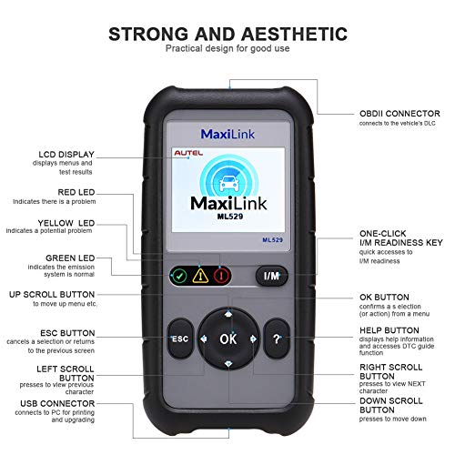 Autel OBD2 Scanner Maxilink ML529 Check Engine Code Reader with Full OBD2 Functions for Turning off Car Check Engine Light by Autel (Image #6)