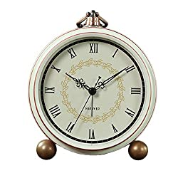 JUSTUP Silent Table Clock, Retro Non-Ticking Desk Clock Battery Operated Alarm Clock Vintage Quartz Analog Clock for Bedrooms Living Room Decor Kids (Roman)