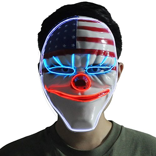 CeCe Light Up Mask w/Creepy Clown USA Flag Glowing for Halloween Rave Costume Party