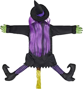 Halloween Decorations Witch Crashing Into Tree Door House Wall,Halloween Decor Halloween Witch Decorations Props Halloween Tree Witch Crashing Witch for Outdoor Indoor (37.4 Inch Tall)