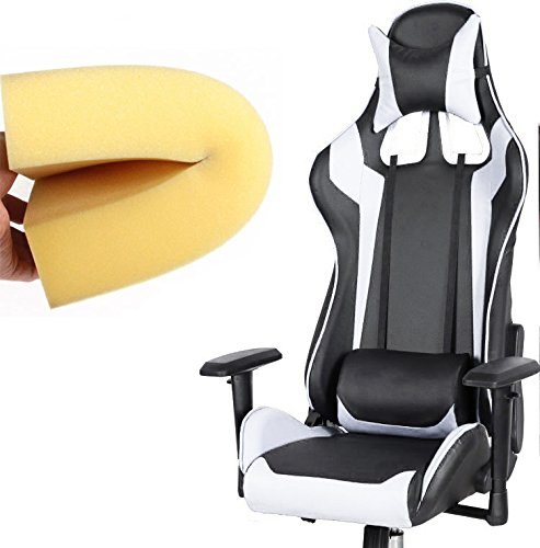 51x GTzdJqL - Black-with-White-Stripes-Racer-Computer-Gaming-and-Office-Chair-Adjustable-Width-Back-and-Neck-Pillow-Height-Adjustment