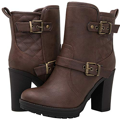 GLOBALWIN Women's 18YY36 Brown High Heel Fashion Ankle Boots 7.5M