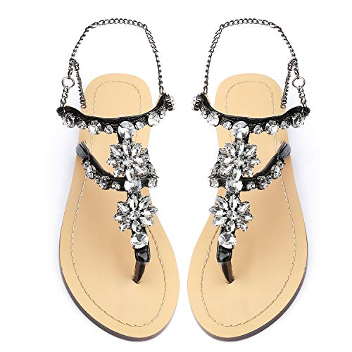 Black Rhinestone Sandals - Odema Women's Crystal Diamond Rhinestone Bohemia Flip Flops Beach T-Strap Flat Sandals Black