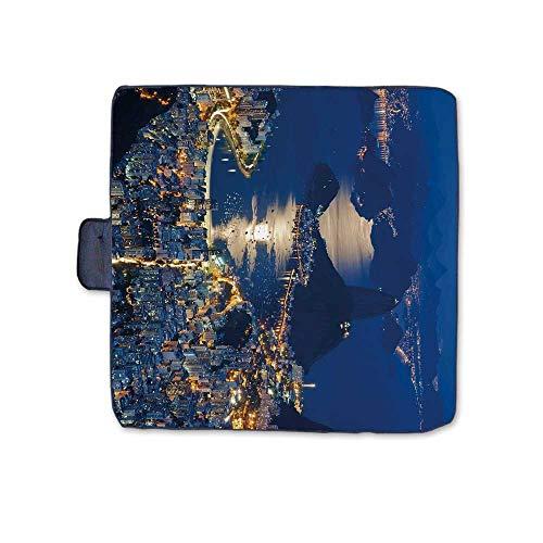 - TecBillion Night Stylish Picnic Blanket,Aerial View of Mountain Sugar Loaf and Botafogo Rio de Janeiro Mat for Picnics Beaches Camping,58