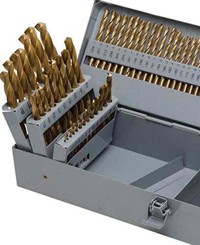 "KCHEX>115pc Titanium Drill Bit Set w/Metal Index Case Fractional Number Letter Steel>Professional multipurpose use for every possible drilling task 3/8"" reduced shanks for large fractional bits."