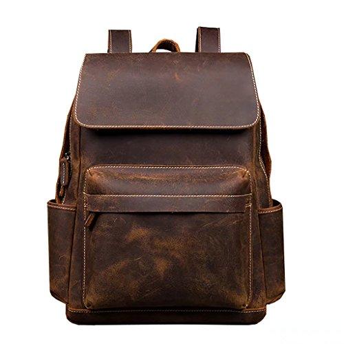 Retro Leather Bag Leather Bag Backpack British Wind Computer Bag Leather Wallet Hand Leather Backpack Tide -002 by BJXM