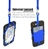 Universal Lanyard Cell Phone Neck strap Case Cover Holder Wrist Strap With ID Card Slot For iPhone 6 6S 7 Plus Galaxy S7 S7 Edge Note 3 4 5 and Other Mobile Phones (Blue)