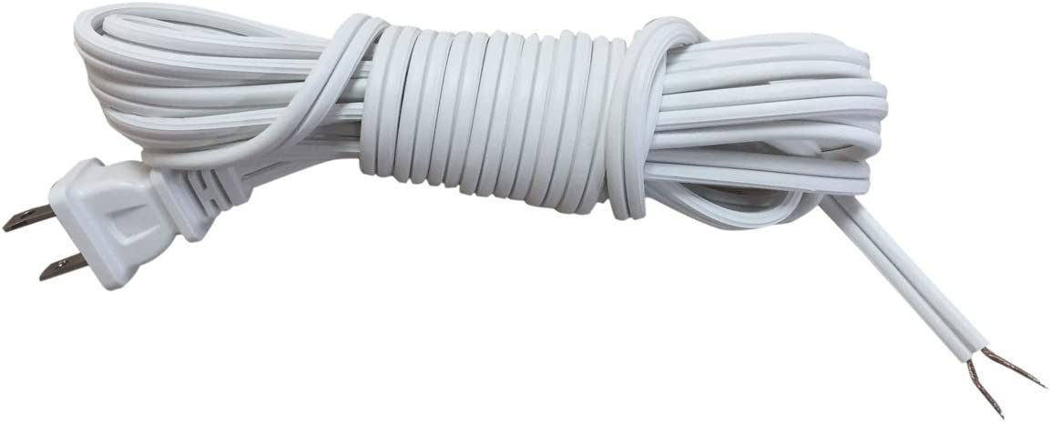 Royal Designs Lamp Cord With Molded Plug Stripped Ends Ready For Wiring 12 Ft Long White Spt 2 Ul Listed