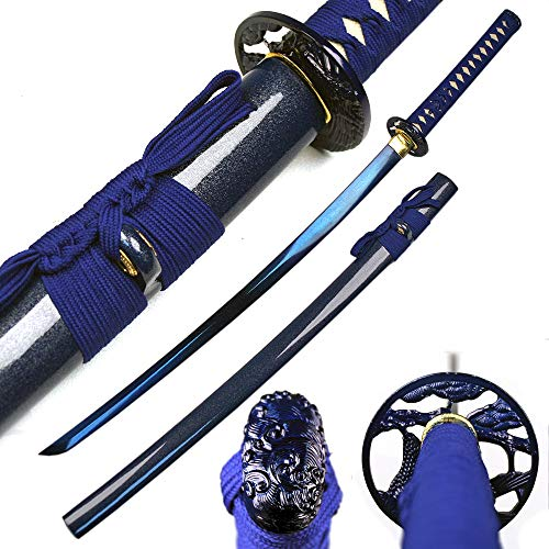 Ace Martial Arts Supply Classic Handmade Samurai Katana Sharp Sword-Musha (Pine Tree-Blue Scabbard)