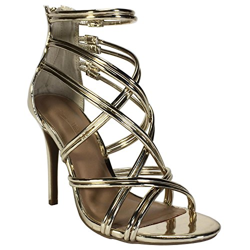 Anne Michelle Women's Metallic Multi Strap Heel Sandal, Gold Patent PU, 7.5 B (M) - Multi Heels Gold