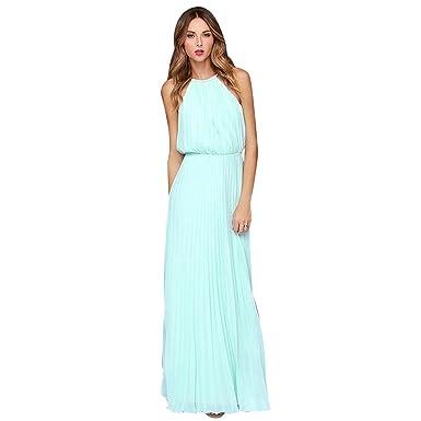 a15e32f54ce Elite99 Women s Sleeveless Halterneck Ruffle Top Chiffon Wedding Maxi Dress  (XS