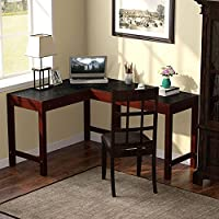 Tribesigns Reversible L-Shaped Desk, Corner Computer Desk PC Laptop Table Workstation with Solid Wood Legs for Home Office