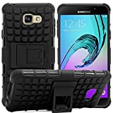 Samsung Galaxy C7 PRO High Quality Defender Tough Hybrid Armour Shockproof Hard PC + TPU with Kick Stand Rugged Back Case Cover - Black by GetSetStyle