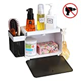 SUPERVIN Adhesive Bathroom Shelf Storage Organizer with Hooks Wall Mounted Shower Caddy Kitchen Rack No Drilling Black