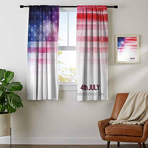 Scarlet Pinstripe Short - youpinnong 4th of July, Black Out Window Curtain Short, American Flag with Dreamy Design Stars and Stripes Grunge Artistic, for Bedroom, W63 x L63 Inch Scarlet Navy Blue White