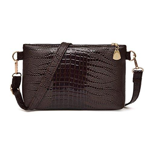 Handbag Pattern Crocodile Tote (ZTY66 Women Fashion Leather Handbag Crocodile Pattern Shoulder Bag Small Tote Ladies Purse (Purple))