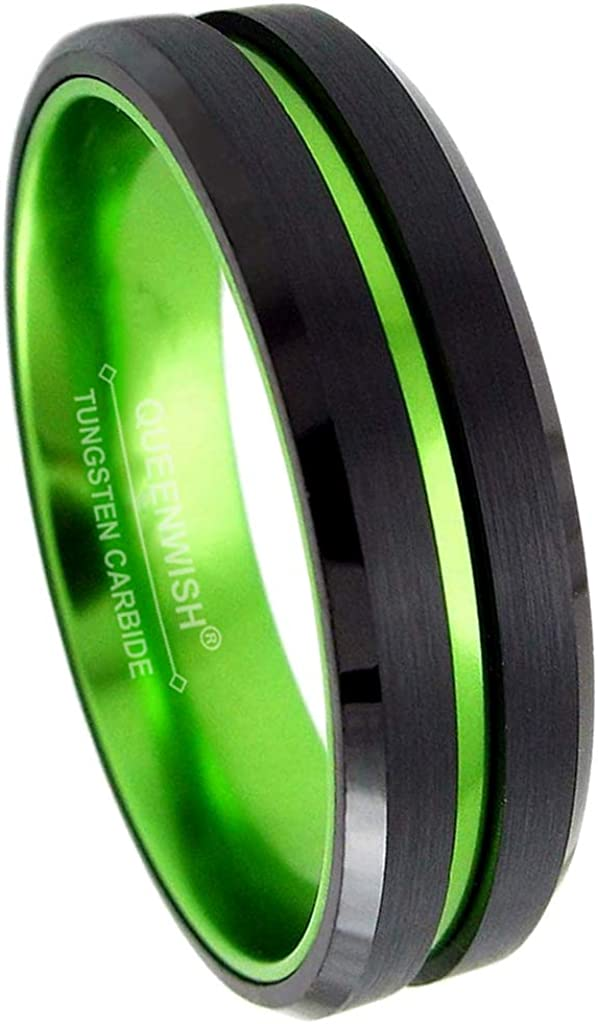 Queenwish 6/8mm Red/Green&Black Tungsten Carbide Ring Mens Two Tone Wedding Bands Groove Beveled Edge Brushed Engagement Couples Rings