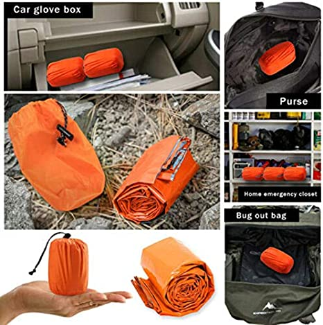 Gebuter Thermal Waterproof Emergency Sleeping Bag for Outdoor Hiking Camping Lightweight Single Bags Suitable for Adults/&JuniorsOutdoor Use Hiking Backpacking Camping Travelingwith Compression Sack