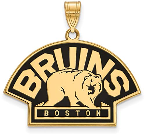 Gold-Plated Sterling Silver NHL Boston Bruins Large Pendant by LogoArt GP043BRI from LogoArt Jewelry