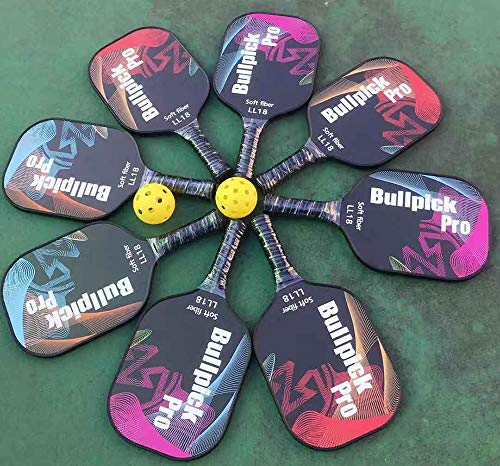 Bullpickpro Pickleball Paddle Set of 2 Graphite Pickle-Ball Racket Polypropylene Honeycomb Core Lightweight Paddles Racquet with 9 Ball