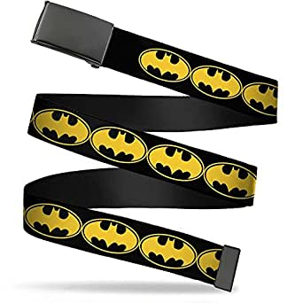 "Buckle-Down Big Web Belt Batman, Bat Signal-3 Black/Yellow/Black, 1.0"" Wide-fits up to Kids Size 20"