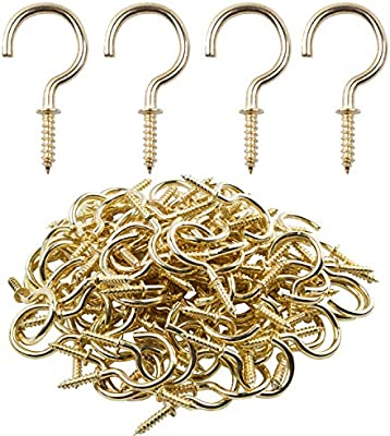 50pcs Nickel Plated Metal Screw-In Ceiling Hooks Cup Hooks Gold