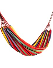 Wallfire Camping Hammock Single & Double with Tree Straps, Portable Folding Striped Hanging Chair Large Hammock for 1-2 Person for Indoor Outdoor Beach Backyard Patio Backpacking Survival & Travel