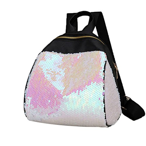 Creazy Women Girl Backpack Travel Rucksack Shoulder Shiny Sequins School Bags (White)