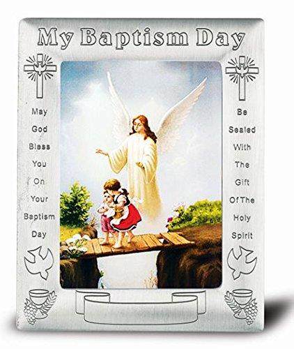 Pewter Confirmation Frame - Guardian Angel in Baptismal Antique Pewter Photo Frame 5.5