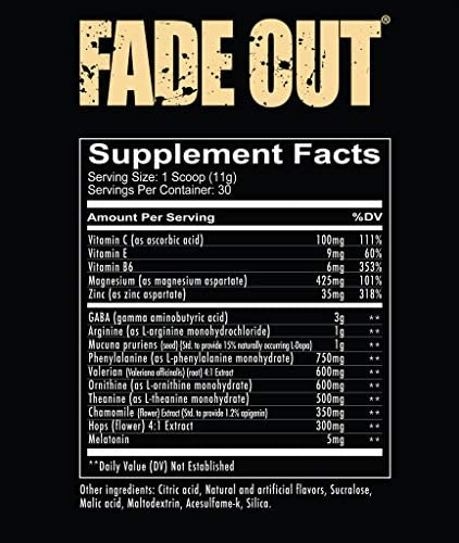 Amazon.com: Redcon1 - Fade Out (recién formulado) 30 porciones, fórmula para dormir, melatonina, manzanilla (uva): Health & Personal Care