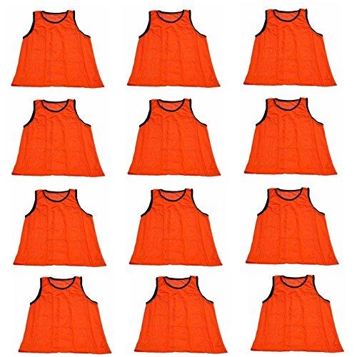 - Workoutz Adult Orange Soccer Pinnies (Set of 12) Scrimmage Vests Mesh Team Practice Jerseys