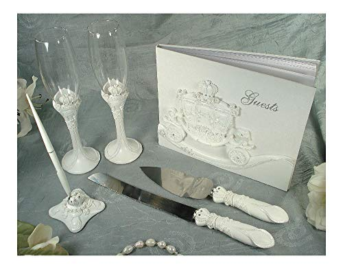 Guest Book Pen Toasting Flutes Cake Server Set Carriage Fairytale -