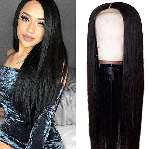 Aatifa Lace Front Wigs For Black Women Pre Plucked 130% Density Straight Lace Front Wig Brazilian Remy Human Hair with Adjustable Straps Natural Black (22 inch)