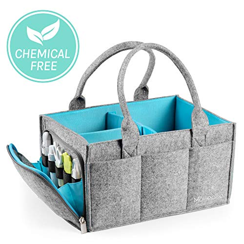 Premium Baby Diaper Caddy Organizer | Portable Nursery Storage Bin | Car Seat Tote with Zipper Pocket & 5mm Heavy Duty Felt by Mollie Ollie