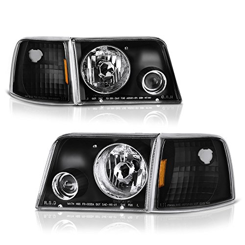 (VIPMOTOZ Black Housing Headlight Projector Fog Light Turn Signal Corner Lamp Assembly For 1993-1997 Ford Ranger, Driver & Passenger Side )