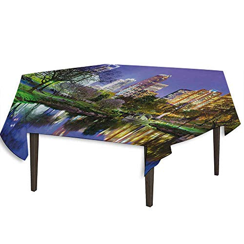 kangkaishi City Detachable Washable Tablecloth North Carolina Marshall Park United States American Night Reflections on Lake Photo Great for Parties Festivals etc. W54.3 x L54.3 Inch Multicolor