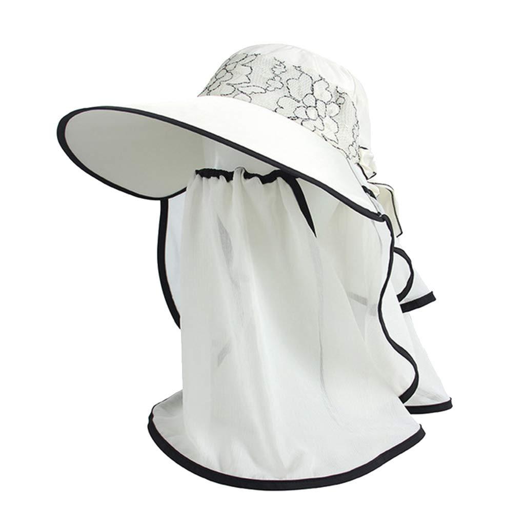 KOROWA UV Sun Straw Hat Summer Lace Face Neck Shade Sun Cap Women Girls Beach Visors Caps Multipurpose Foldable Floppy Hat