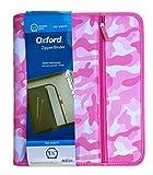 Oxford Zipper Binder, 1 1/2'' D Ring, 350 Sheet Capacity, Pink Camouflage