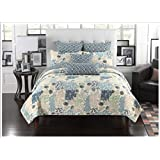 Mk Collection 2 pc Bedspread Coverlet Floral Modern Blue Beige Twin/ Twin Extra Long New #15-11