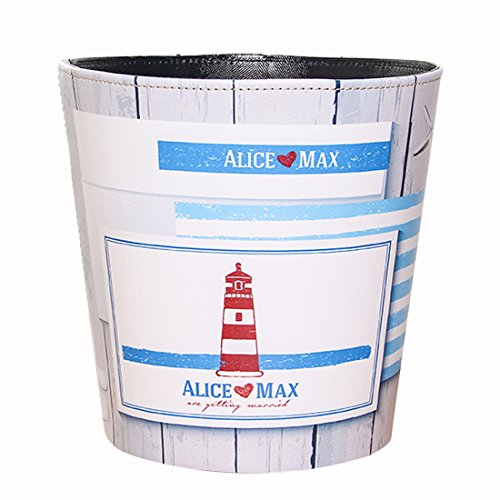 Haoun Wastebasket, European Style Ocean Pattern PU Leather Trash Can Paper Basket Dustbin Garbage Bin - Red Lighthouse