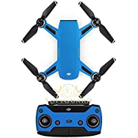 SopiGuard Matte Blue Fiber Precision Edge-to-Edge Coverage Vinyl Sticker Skin Controller 3 x Battery Wraps for DJI Spark