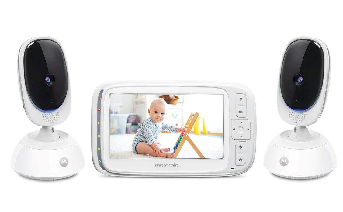 Motorola Comfort 75-2 Video Baby and Home Monitor, 5 LCD Color Screen Display, 2 Cameras with Remote Pan Scan, Two-Way Communication, Infrared Night Vision, 5 Soothing Lullabies