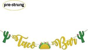 Taco Bar Gold Glitter Banner Sign Garland Pre-Strung for Cinco De Mayo Mexican Fiesta Themed Party Taco Bar Decor