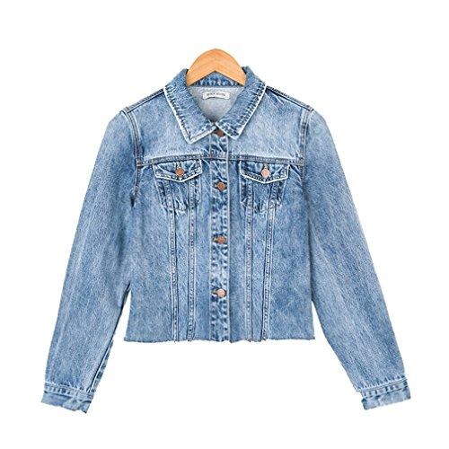 Corta Jeans Fit Larga Azul Chaquetas Mujer Vaquera Abrigo Honghu xA1xqOPfw
