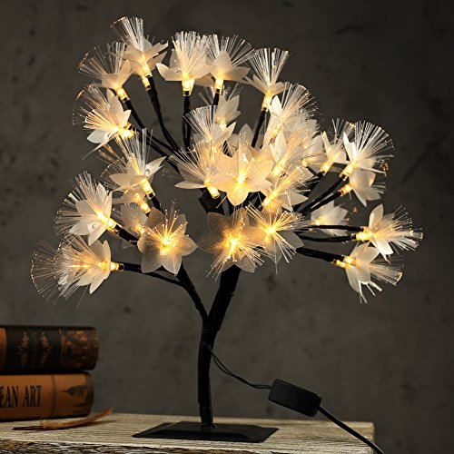 MHOLFB LED Cherry Blossom Tree Light Lamp Artificial Branches Fiber Optic Flowerers Desk Bonsai lamp Decoration for Home Indoor Festival Party Wedding Christmas 0.4M/15.75 Inch 40 Bulbs (Warm White) by MHOLFB