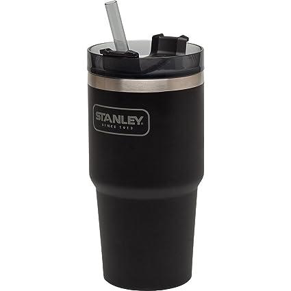Stanley Adventure Vacuum Insulated Quencher Viaje Vaso, Acero Inoxidable, Matte Black, 0.59 Litre