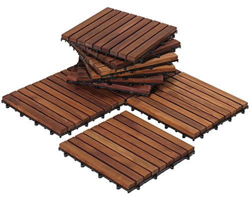 Bare Decor EZ-Floor Interlocking Flooring Tiles in Solid Teak Wood Oiled Finish (Set of 10), Long 9 Slat - Glue Engineered Floor